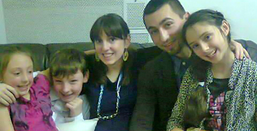 Andreia Sutton Bărdeanu, 31, her new husband, Alex, and the children from her previous marriage
